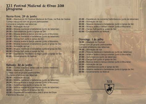 Elvas 2018 programa-Feira-Medieval